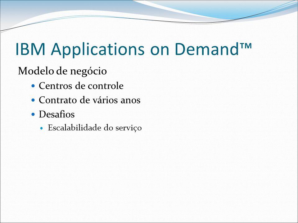 IBM Applications on Demand™ Modelo de negócio Centros de controle Contrato de vários anos Desafios Escalabilidade do serviço