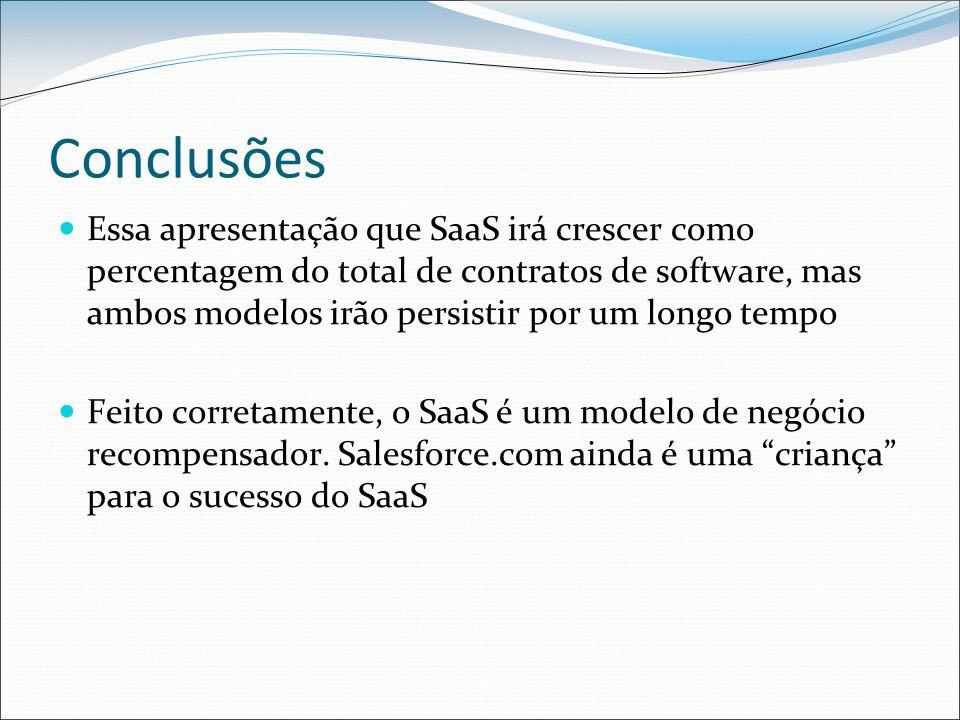 Conclusões Essa apresentação que SaaS irá crescer como percentagem do total de contratos de software, mas ambos modelos irão persistir por um longo tempo Feito corretamente, o SaaS é um modelo de negócio recompensador.