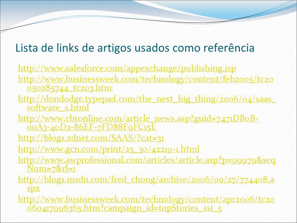 Lista de links de artigos usados como referência http://www.salesforce.com/appexchange/publishing.jsp http://www.businessweek.com/technology/content/feb2005/tc20 050285744_tc203.htm http://dondodge.typepad.com/the_next_big_thing/2006/04/saas_ software_s.html http://www.cbronline.com/article_news.asp guid=7471DB0B- 00A3-40D2-86EF-7FD88F9FC15E http://blogs.zdnet.com/SAAS/ cat=31 http://www.gcn.com/print/25_30/42219-1.html http://www.awprofessional.com/articles/article.asp p=99979&seq Num=7&rl=1 http://blogs.msdn.com/fred_chong/archive/2006/09/27/774408.a spx http://www.businessweek.com/technology/content/apr2006/tc20 060417996365.htm campaign_id=topStories_ssi_5