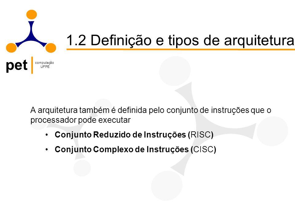 pet computação UFPE 1.2 Definição e tipos de arquitetura A arquitetura também é definida pelo conjunto de instruções que o processador pode executar Conjunto Reduzido de Instruções (RISC) Conjunto Complexo de Instruções (CISC)