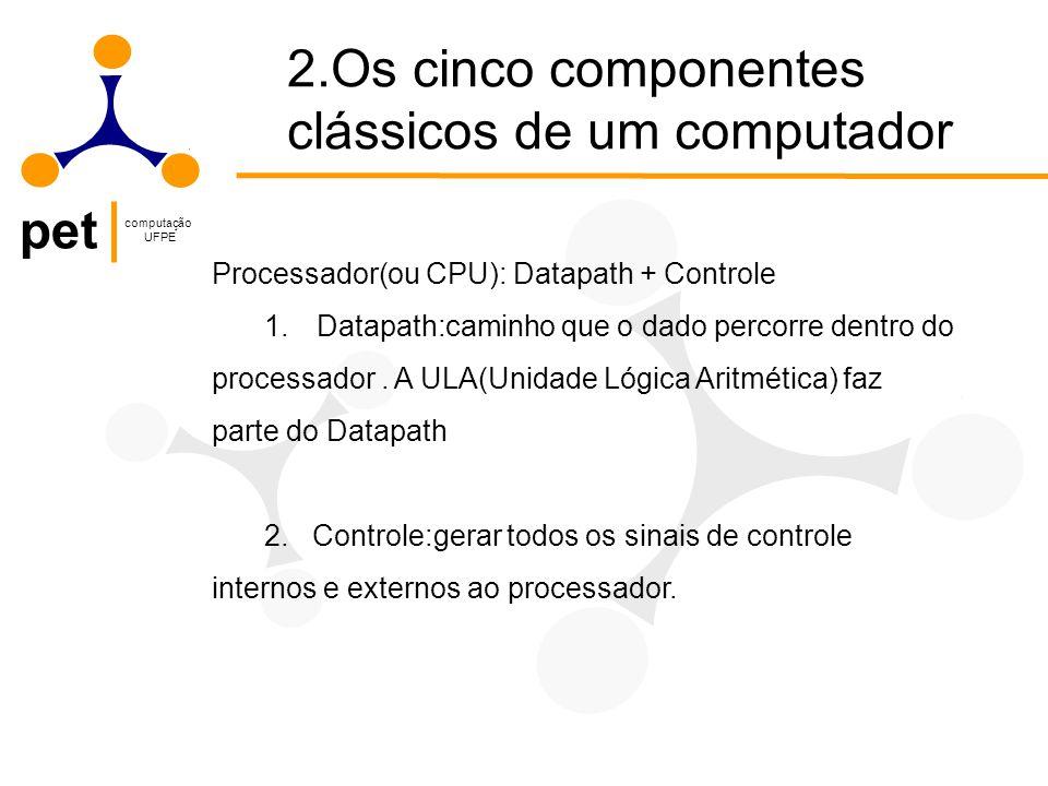 pet computação UFPE Processador(ou CPU): Datapath + Controle 1.Datapath:caminho que o dado percorre dentro do processador.