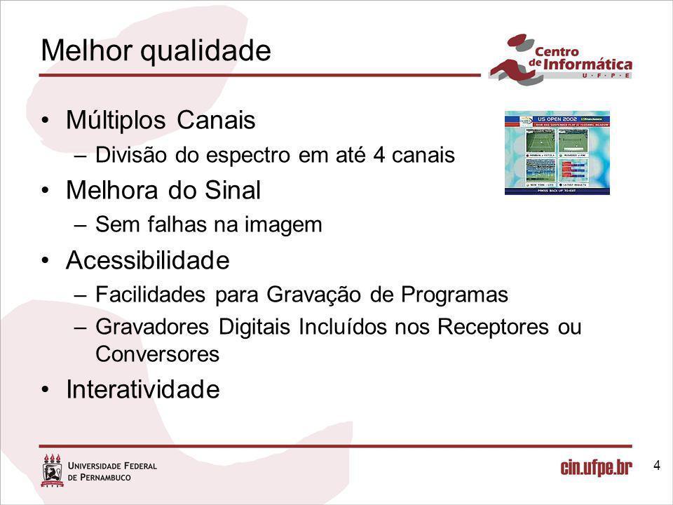 Resolução: Formatos FormatoPadrão de Resolução Taxa de quadrosTaxa média de bits (estimativa) (Mbits/s) 1080pHDTV1920x108060 quadros / seg19 (12 – 32) 720pHDTV1280x72060 quadros / seg14 (8 – 20) 480pEDTV704x48060 quadros / seg6 (4 – 8) 480iSDTV704x48030 quadros / seg4,8 (3 – 8) 240pLDTV320x24060 quadros / seg1,1 (0,5 – 1,2)