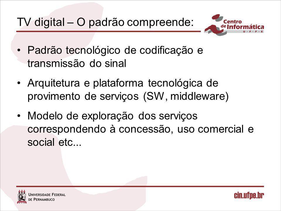 TV digital – padrões mundiais ATSC – privilegia o HDTV DVB – privilegia multiprogramação e interatividade e novos serviços ISDB – privilegia HDTV e interatividade e recepção móvel e portátil