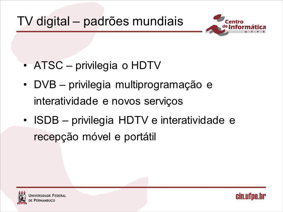SBTVD Principais requisitos –Inclusão digital Interatividade –Em especial, simulação da Internet (e-mail, Web) (Baixo) custo –Mobilidade Questões em aberto –Modelo de negócio Transição  escala, desligamento da TV analógica Convergência 9