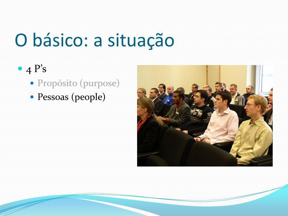 O básico: a situação 4 P's Propósito (purpose) Pessoas (people)