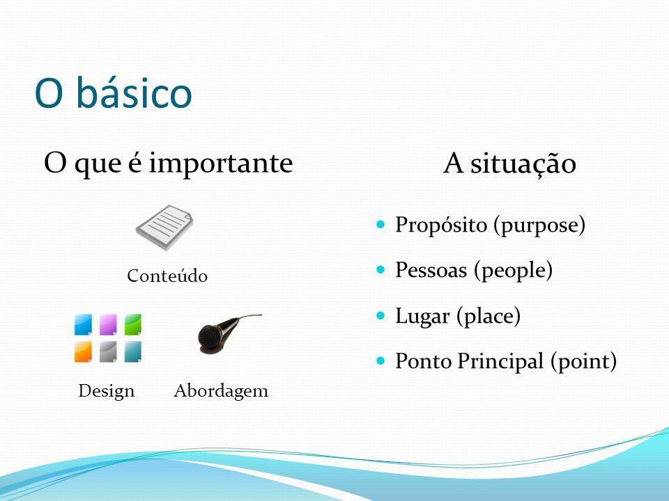 O básico A situação Propósito (purpose) Pessoas (people) Lugar (place) Ponto Principal (point) Conteúdo DesignAbordagem O que é importante