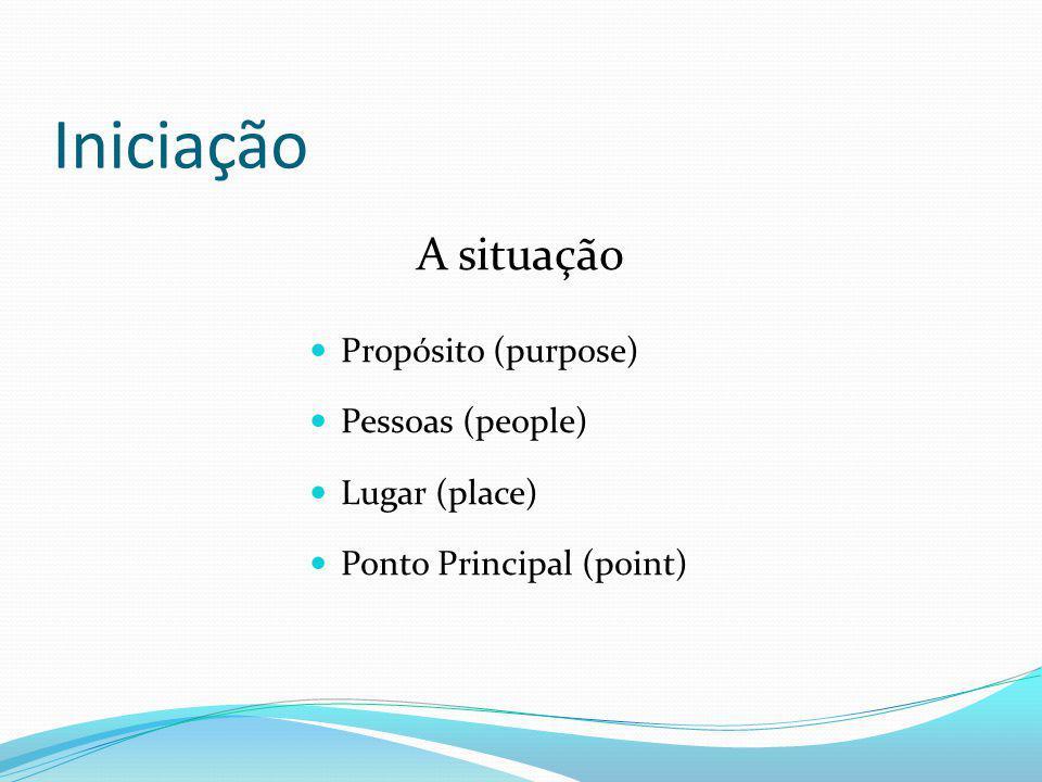 Iniciação A situação Propósito (purpose) Pessoas (people) Lugar (place) Ponto Principal (point)