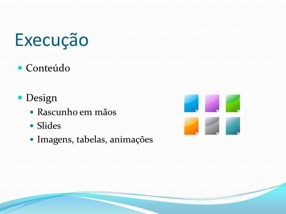 Execução Conteúdo Design Rascunho em mãos Slides Imagens, tabelas, animações