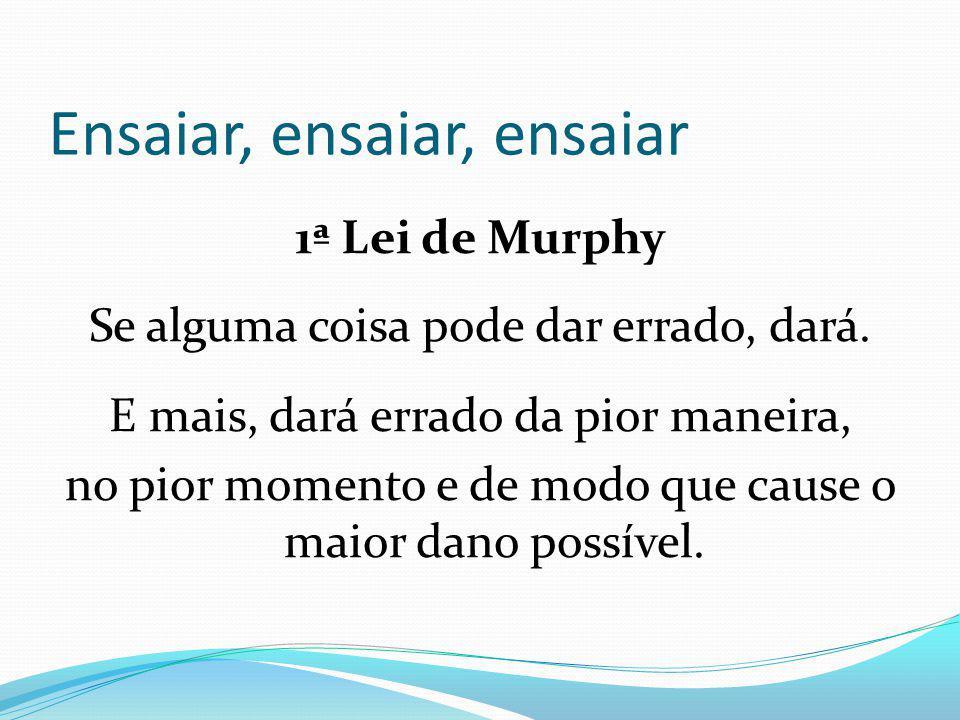 1ª Lei de Murphy Se alguma coisa pode dar errado, dará.