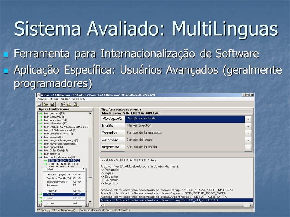 Sistema Avaliado: MultiLinguas Ferramenta para Internacionalização de Software Ferramenta para Internacionalização de Software Aplicação Específica: Usuários Avançados (geralmente programadores) Aplicação Específica: Usuários Avançados (geralmente programadores)