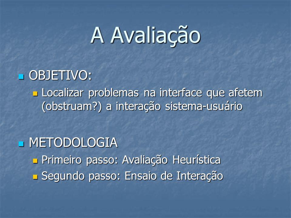A Avaliação OBJETIVO: OBJETIVO: Localizar problemas na interface que afetem (obstruam ) a interação sistema-usuário Localizar problemas na interface que afetem (obstruam ) a interação sistema-usuário METODOLOGIA METODOLOGIA Primeiro passo: Avaliação Heurística Primeiro passo: Avaliação Heurística Segundo passo: Ensaio de Interação Segundo passo: Ensaio de Interação