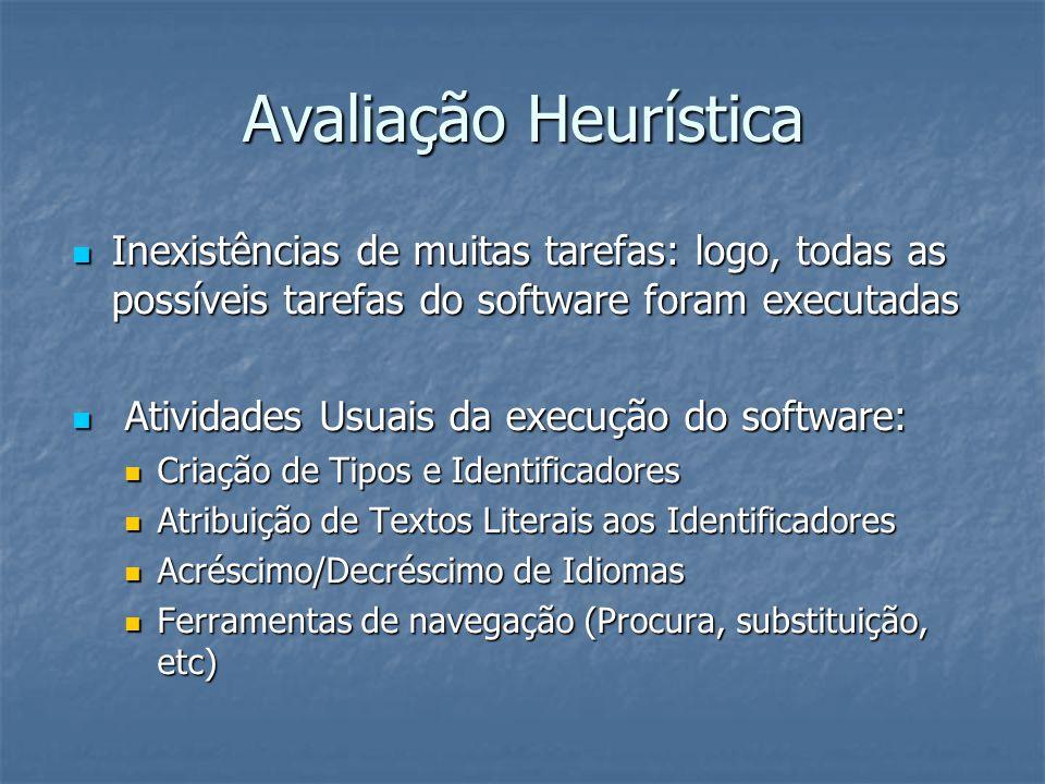 Avaliação Heurística Inexistências de muitas tarefas: logo, todas as possíveis tarefas do software foram executadas Inexistências de muitas tarefas: logo, todas as possíveis tarefas do software foram executadas Atividades Usuais da execução do software: Atividades Usuais da execução do software: Criação de Tipos e Identificadores Criação de Tipos e Identificadores Atribuição de Textos Literais aos Identificadores Atribuição de Textos Literais aos Identificadores Acréscimo/Decréscimo de Idiomas Acréscimo/Decréscimo de Idiomas Ferramentas de navegação (Procura, substituição, etc) Ferramentas de navegação (Procura, substituição, etc)