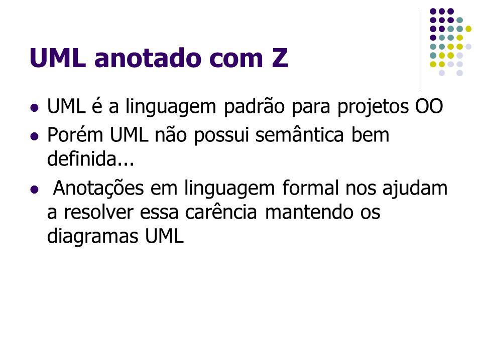 UML anotado com Z UML é a linguagem padrão para projetos OO Porém UML não possui semântica bem definida... Anotações em linguagem formal nos ajudam a
