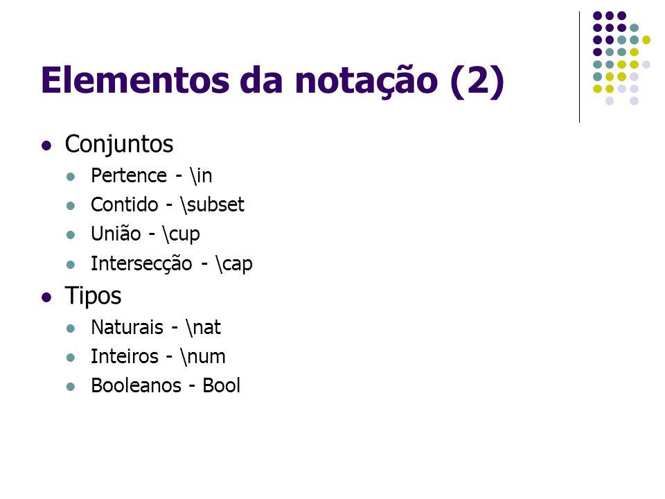 Elementos da notação (2) Conjuntos Pertence - \in Contido - \subset União - \cup Intersecção - \cap Tipos Naturais - \nat Inteiros - \num Booleanos - Bool