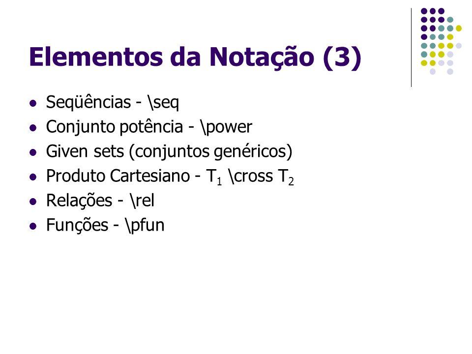 Elementos da Notação (3) Seqüências - \seq Conjunto potência - \power Given sets (conjuntos genéricos) Produto Cartesiano - T 1 \cross T 2 Relações - \rel Funções - \pfun