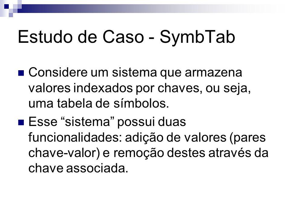 Estudo de Caso - SymbTab Considere um sistema que armazena valores indexados por chaves, ou seja, uma tabela de símbolos.