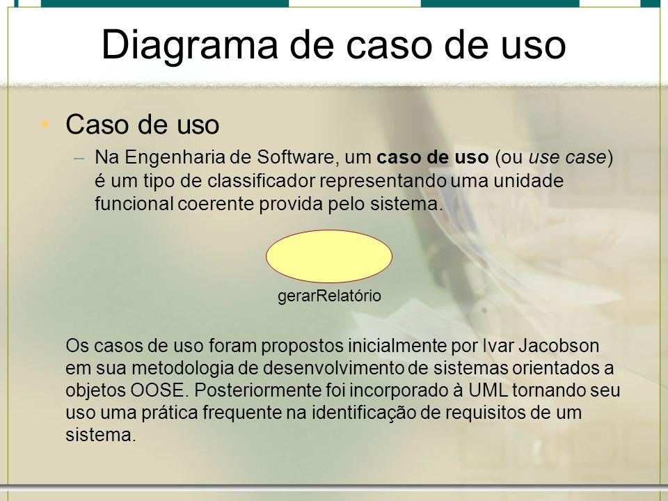 Diagrama de caso de uso Caso de uso –Na Engenharia de Software, um caso de uso (ou use case) é um tipo de classificador representando uma unidade func