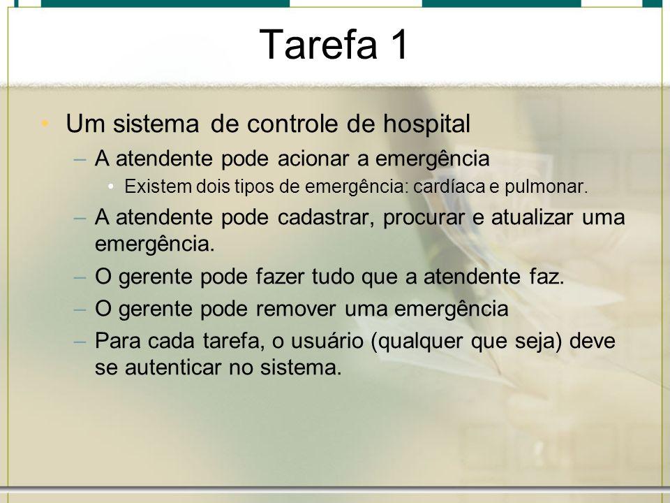 Tarefa 1 Um sistema de controle de hospital –A atendente pode acionar a emergência Existem dois tipos de emergência: cardíaca e pulmonar. –A atendente