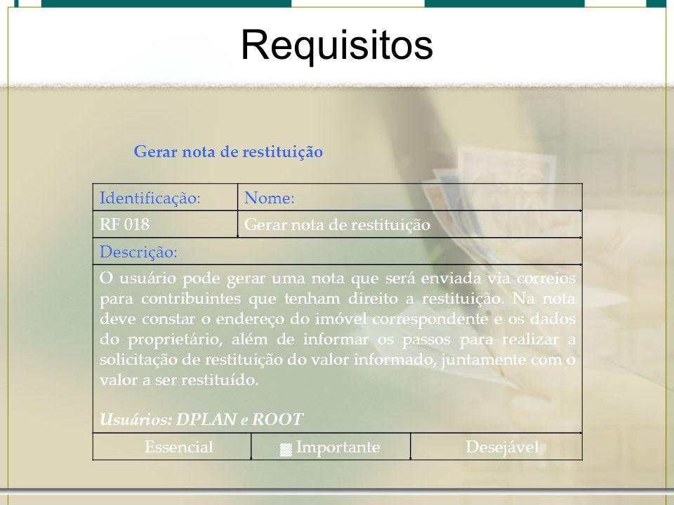 Requisitos Gerar nota de restituição Identificação:Nome: RF 018Gerar nota de restituição Descrição: O usuário pode gerar uma nota que será enviada via