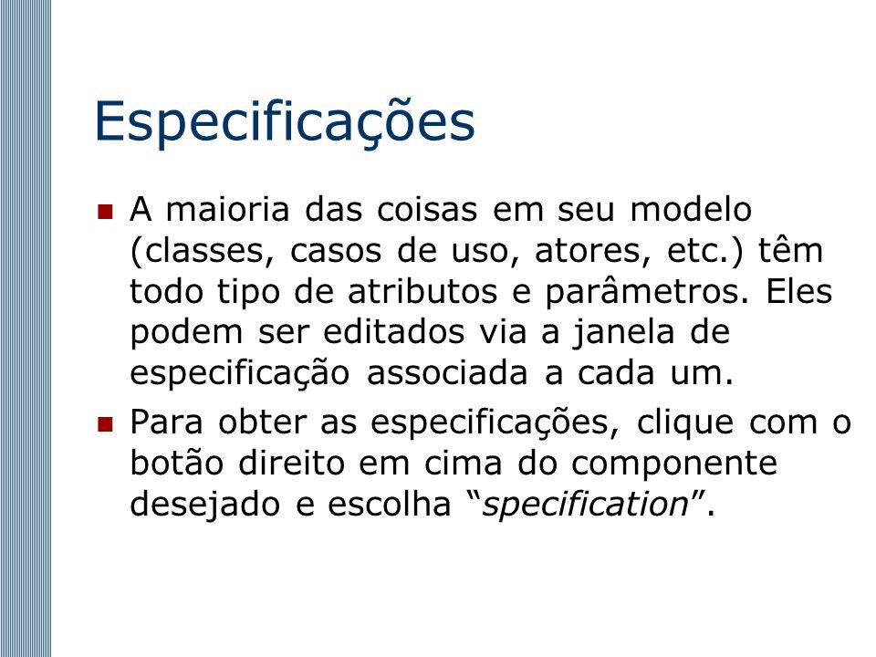 Especificações A maioria das coisas em seu modelo (classes, casos de uso, atores, etc.) têm todo tipo de atributos e parâmetros.