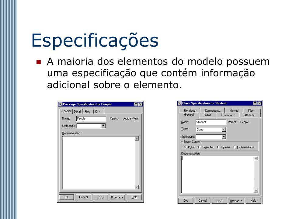 Especificações A maioria dos elementos do modelo possuem uma especificação que contém informação adicional sobre o elemento.