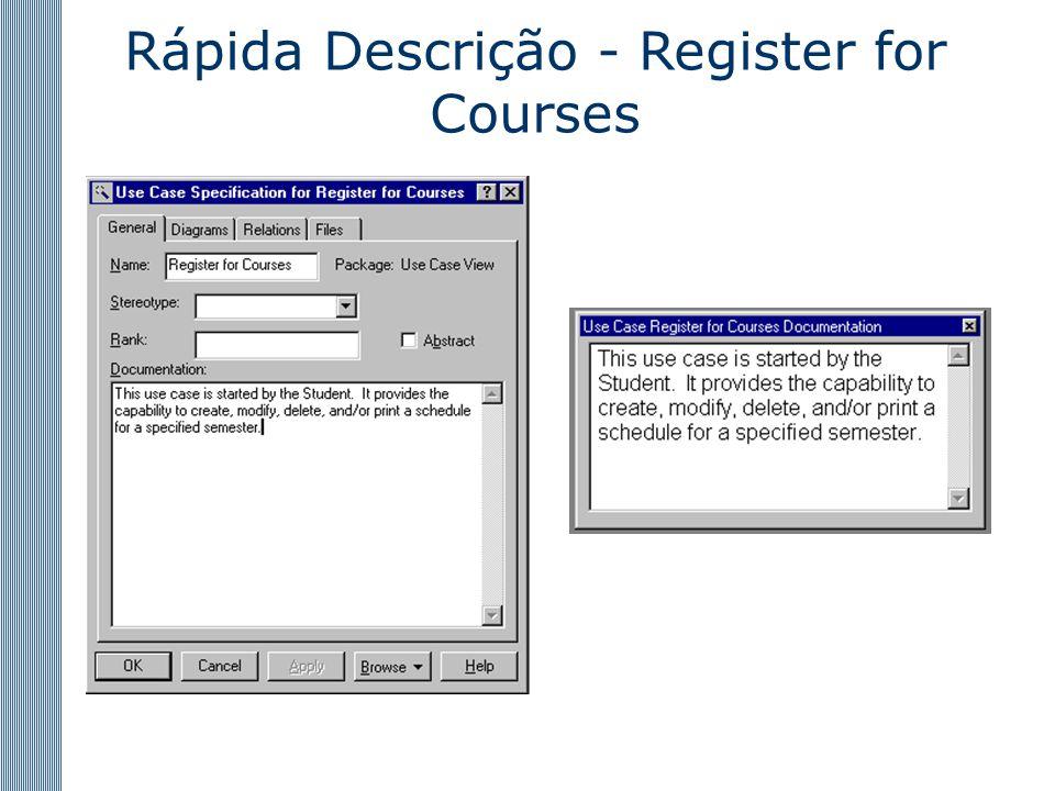 Rápida Descrição - Register for Courses