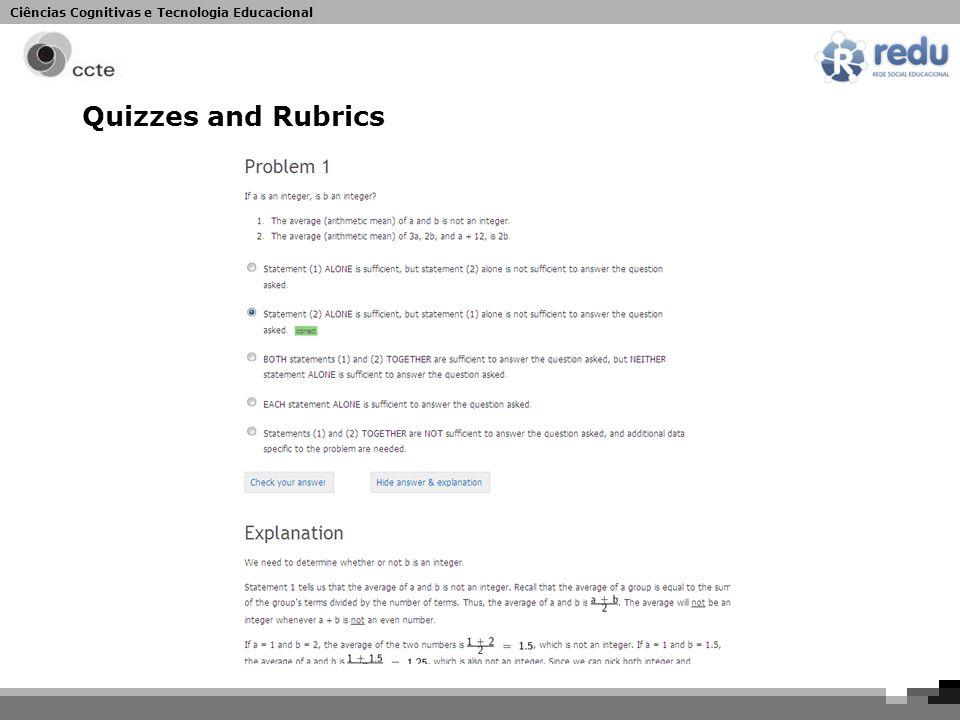 Ciências Cognitivas e Tecnologia Educacional Quizzes and Rubrics