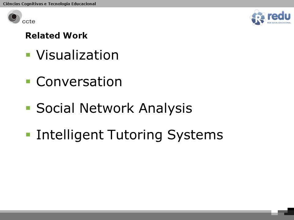 Ciências Cognitivas e Tecnologia Educacional Related Work  Visualization  Conversation  Social Network Analysis  Intelligent Tutoring Systems