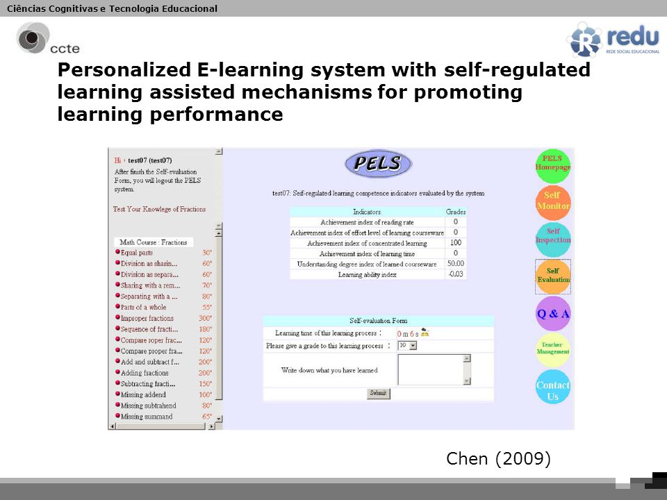 Ciências Cognitivas e Tecnologia Educacional Personalized E-learning system with self-regulated learning assisted mechanisms for promoting learning performance Chen (2009)