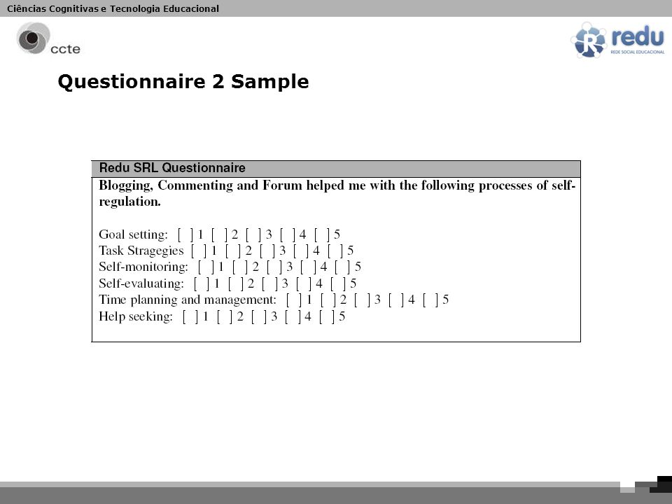 Ciências Cognitivas e Tecnologia Educacional Questionnaire 2 Sample