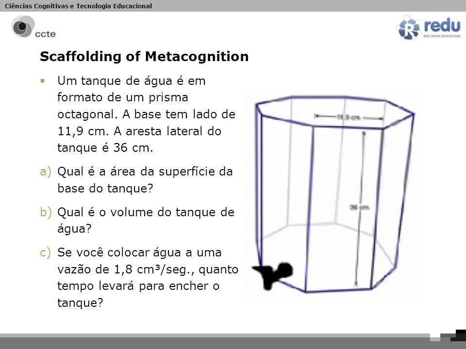 Ciências Cognitivas e Tecnologia Educacional Scaffolding of Metacognition  Um tanque de água é em formato de um prisma octagonal.