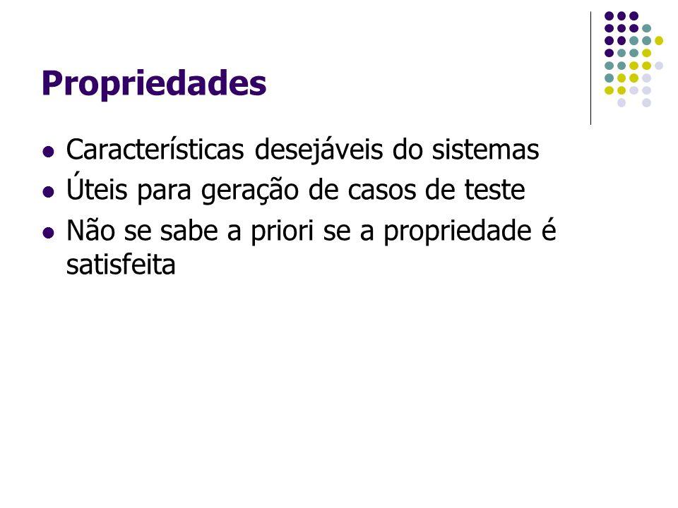 Propriedades Características desejáveis do sistemas Úteis para geração de casos de teste Não se sabe a priori se a propriedade é satisfeita