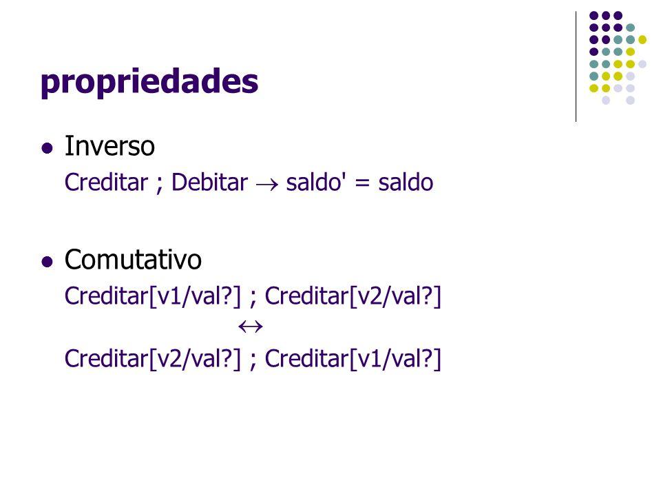 propriedades Inverso Creditar ; Debitar  saldo' = saldo Comutativo Creditar[v1/val?] ; Creditar[v2/val?]  Creditar[v2/val?] ; Creditar[v1/val?]