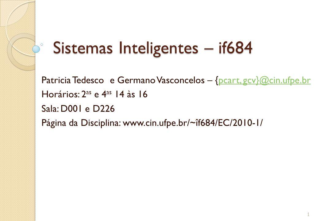 Sistemas Inteligentes – if684 Patricia Tedesco e Germano Vasconcelos – {pcart, gcv}@cin.ufpe.brpcart, gcv}@cin.ufpe.br Horários: 2 as e 4 as 14 às 16