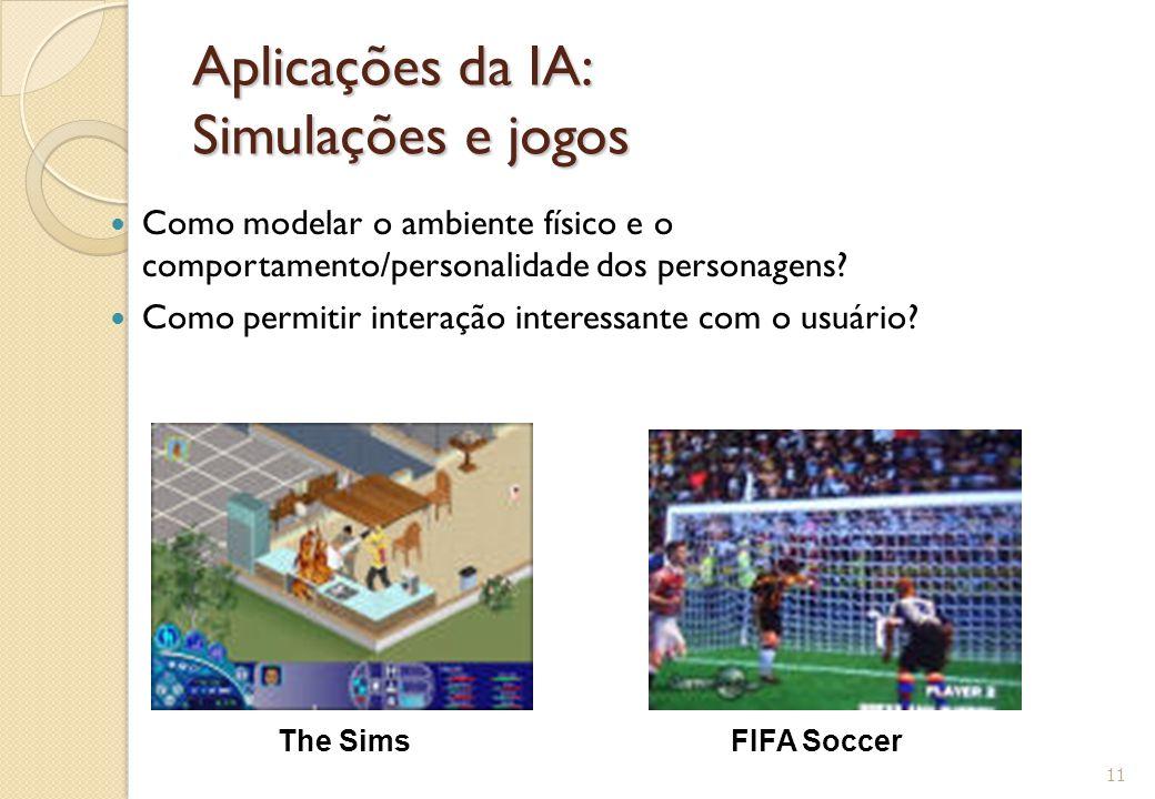 Aplicações da IA: Simulações e jogos Como modelar o ambiente físico e o comportamento/personalidade dos personagens? Como permitir interação interessa
