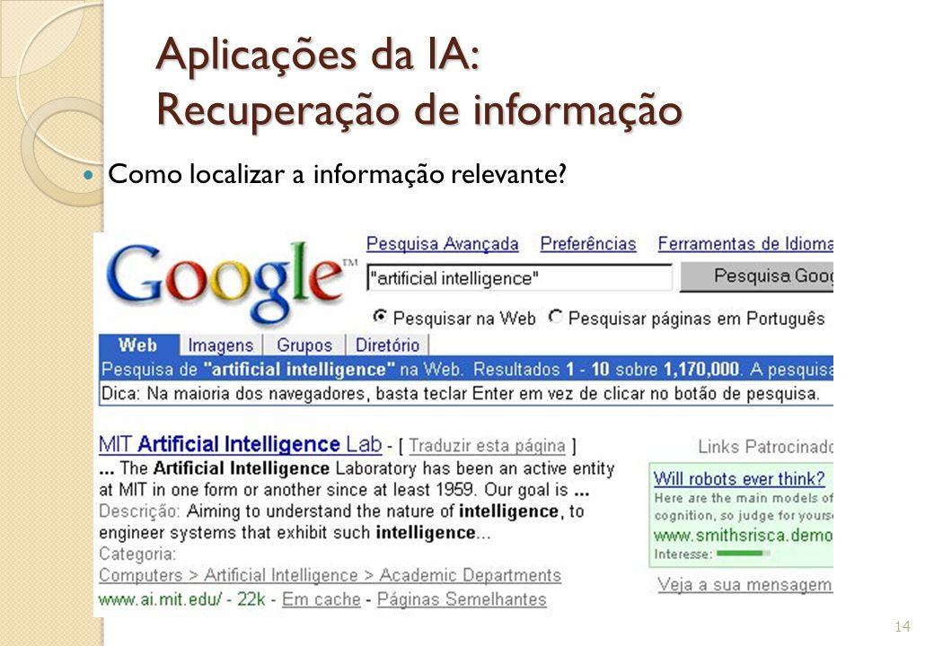 Aplicações da IA: Recuperação de informação Como localizar a informação relevante? 14