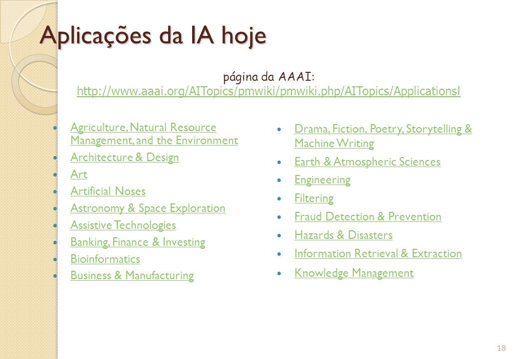 Aplicações da IA hoje Agriculture, Natural Resource Management, and the Environment Agriculture, Natural Resource Management, and the Environment Arch