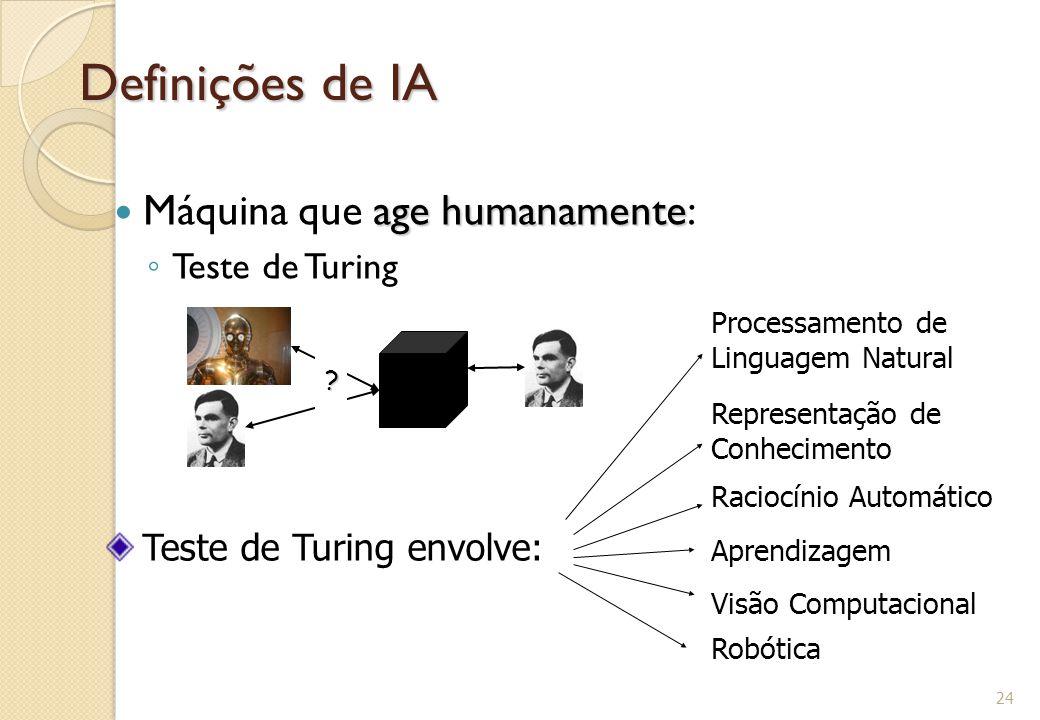 Definições de IA age humanamente Máquina que age humanamente: ◦ Teste de Turing 24 ? Teste de Turing envolve: Processamento de Linguagem Natural Repre
