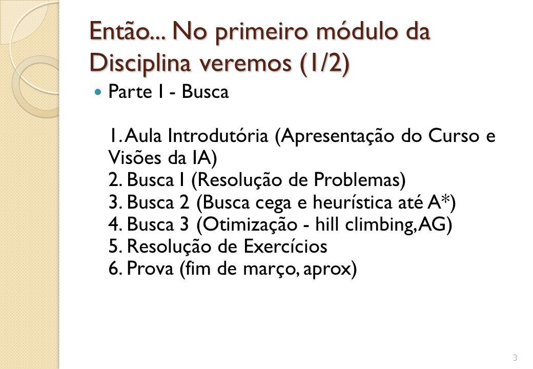 Então... No primeiro módulo da Disciplina veremos (1/2) Parte I - Busca 1. Aula Introdutória (Apresentação do Curso e Visões da IA) 2. Busca I (Resolu