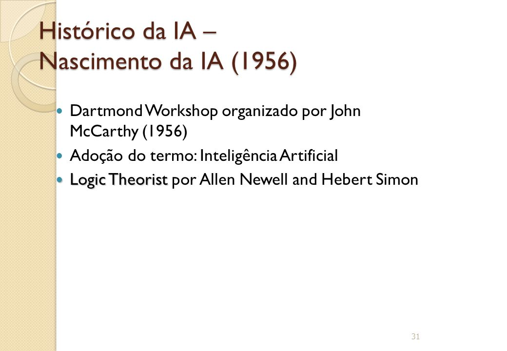 Histórico da IA – Nascimento da IA (1956) Dartmond Workshop organizado por John McCarthy (1956) Adoção do termo: Inteligência Artificial Logic Theoris