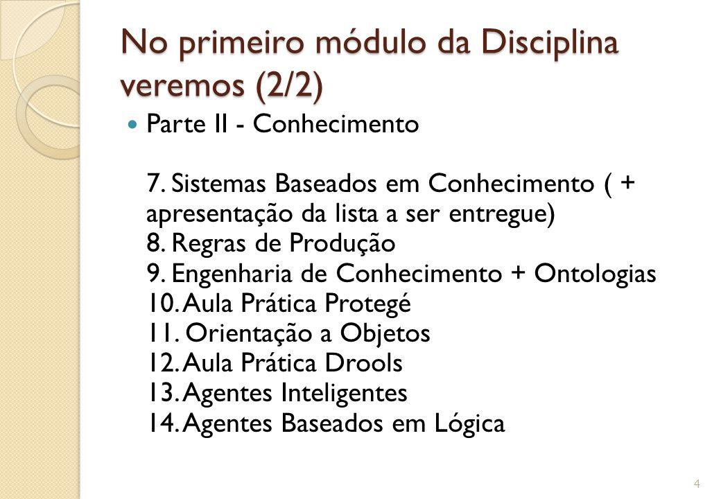No primeiro módulo da Disciplina veremos (2/2) Parte II - Conhecimento 7. Sistemas Baseados em Conhecimento ( + apresentação da lista a ser entregue)
