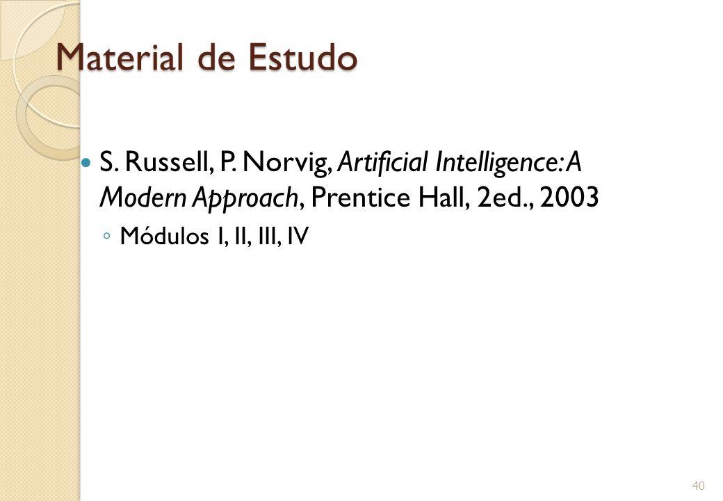 Material de Estudo S. Russell, P. Norvig, Artificial Intelligence: A Modern Approach, Prentice Hall, 2ed., 2003 ◦ Módulos I, II, III, IV 40