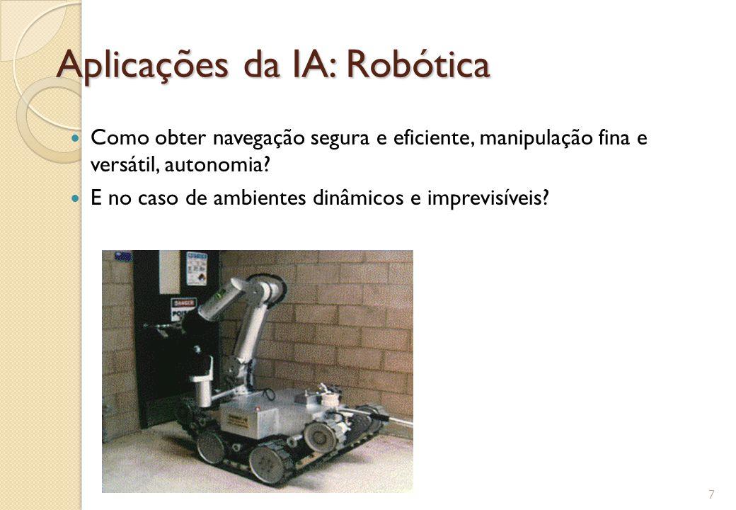 Aplicações da IA: Robótica Como obter navegação segura e eficiente, manipulação fina e versátil, autonomia? E no caso de ambientes dinâmicos e imprevi