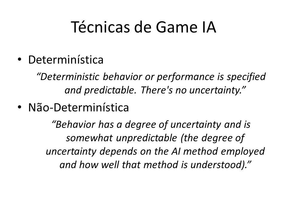 "Técnicas de Game IA Determinística ""Deterministic behavior or performance is specified and predictable. There's no uncertainty."" Não-Determinística ""B"