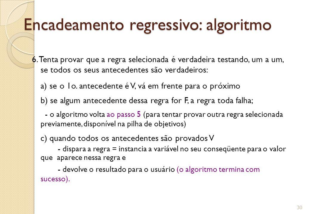 Encadeamento regressivo: algoritmo 6.