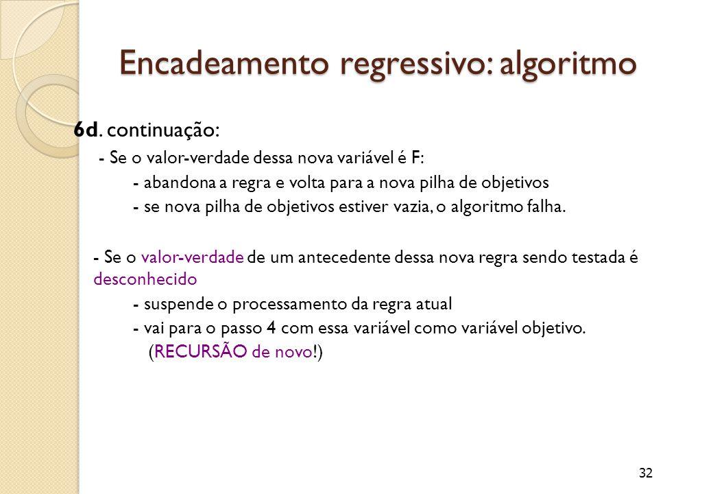 32 Encadeamento regressivo: algoritmo 6d.