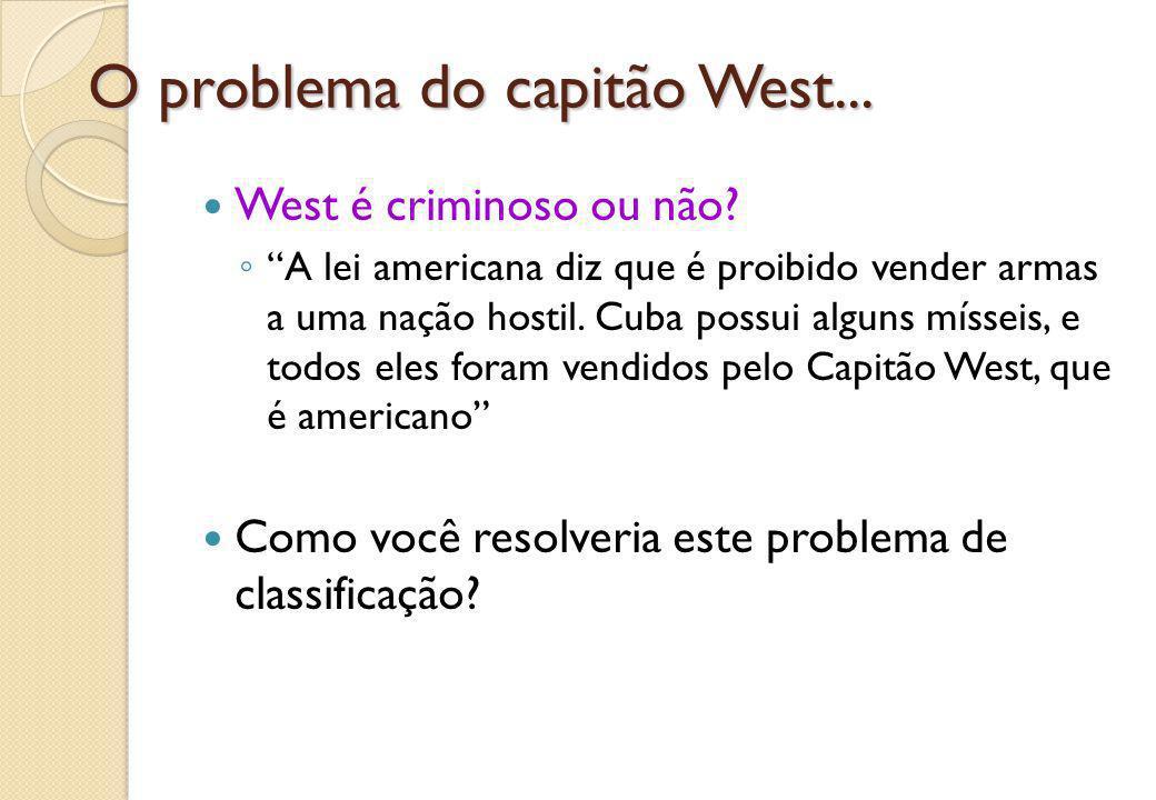 """O problema do capitão West... West é criminoso ou não? ◦ """"A lei americana diz que é proibido vender armas a uma nação hostil. Cuba possui alguns mísse"""
