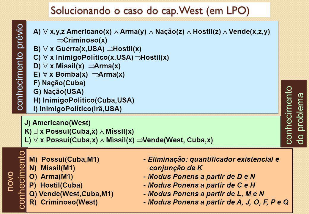 Solucionando o caso do cap. West (em LPO) A)  x,y,z Americano(x)  Arma(y)  Nação(z)  Hostil(z)  Vende(x,z,y)  Criminoso(x) B)  x Guerra(x,U
