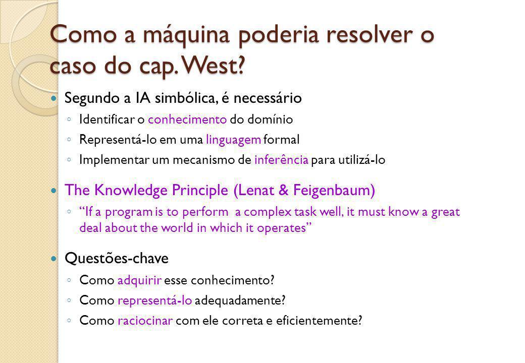 Como a máquina poderia resolver o caso do cap. West? Segundo a IA simbólica, é necessário ◦ Identificar o conhecimento do domínio ◦ Representá-lo em u