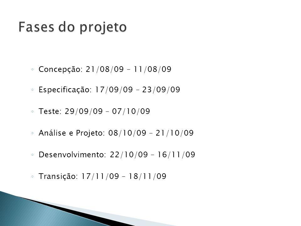 ◦ Concepção: 21/08/09 – 11/08/09 ◦ Especificação: 17/09/09 – 23/09/09 ◦ Teste: 29/09/09 – 07/10/09 ◦ Análise e Projeto: 08/10/09 – 21/10/09 ◦ Desenvolvimento: 22/10/09 – 16/11/09 ◦ Transição: 17/11/09 – 18/11/09